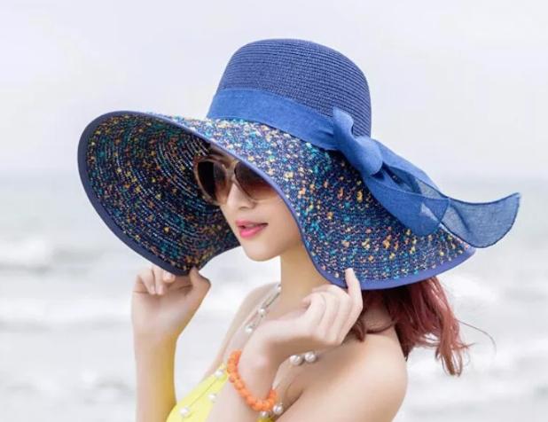 Синяя пляжная шляпа 2020