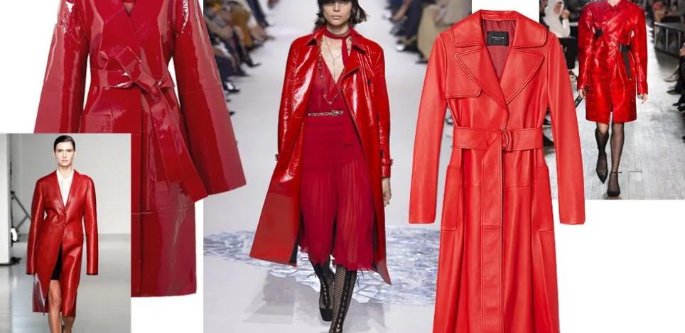 Приталенное пальто из красной лаковой кожи от Givenchy (Живанши)