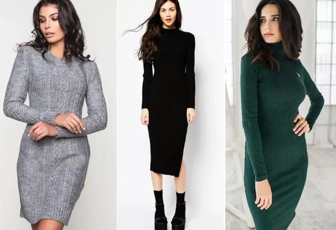 модные зимние платья 2020