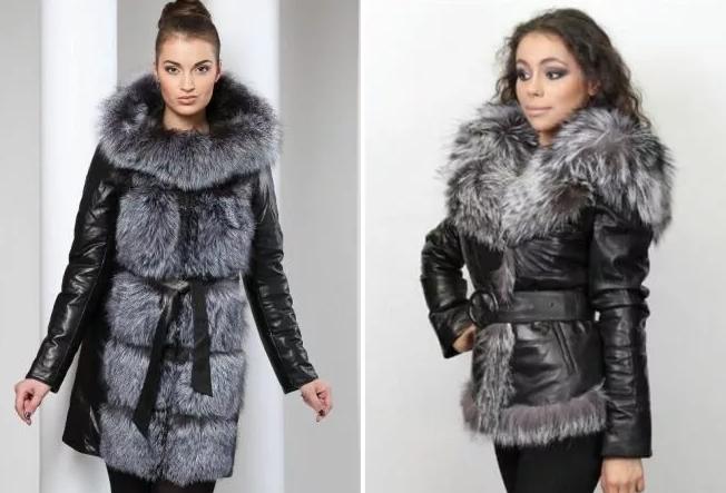 зимние кожаные куртки женские с мехом
