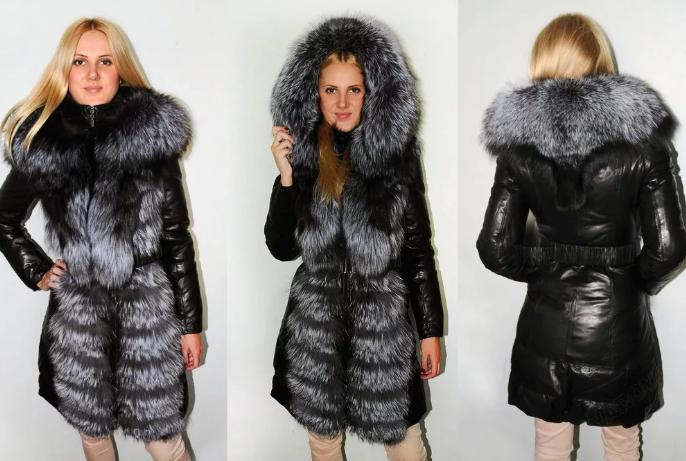 зимняя кожаная куртка женская