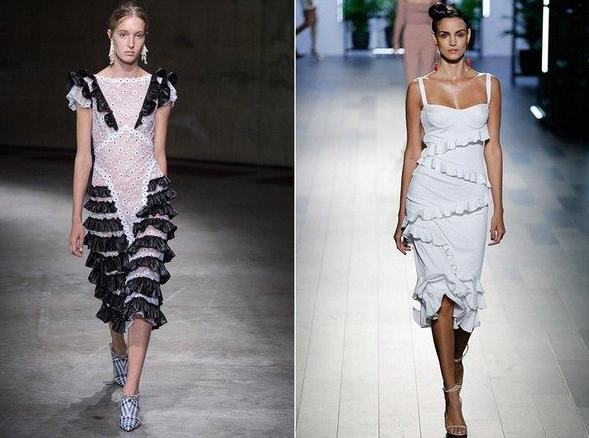 платья с рюшами лето 2020
