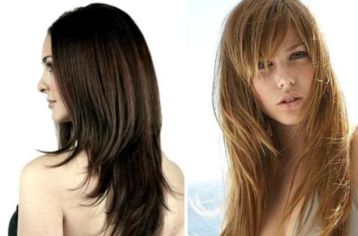 стрижка лесенкой на длинные волосы с челкой
