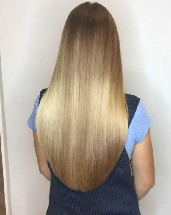 полукруглый срез на длинных волосах
