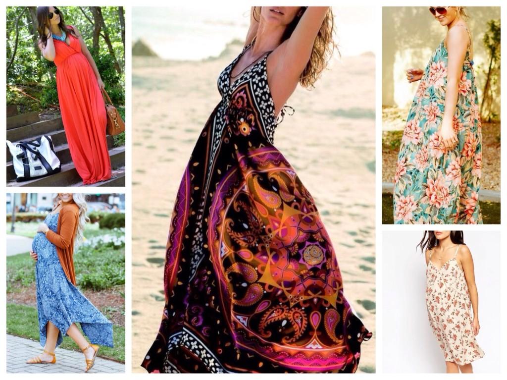 платья и юбки в пол для беременных, модные тенденции 2019 фото 4