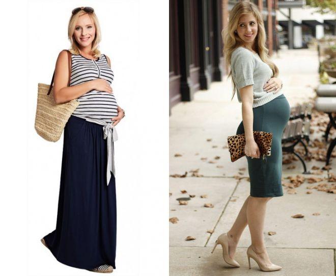 платья и юбки в пол для беременных, модные тенденции 2019 фото 6