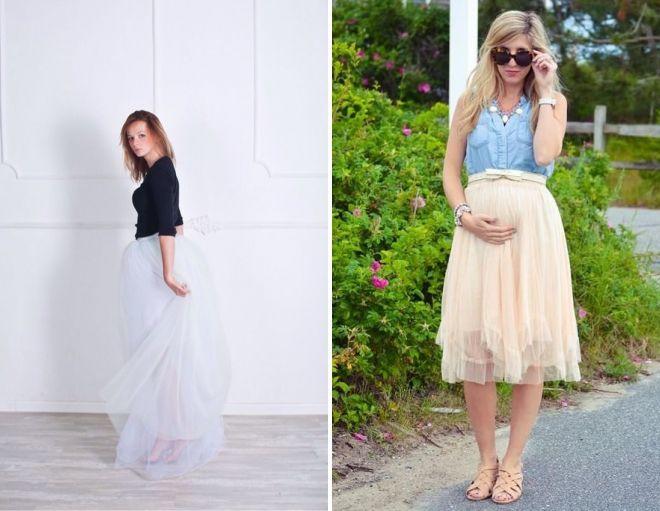 платья и юбки в пол для беременных, модные тенденции 2019 фото 9